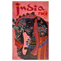 TWA India circa 1960 Travel Poster, Klein