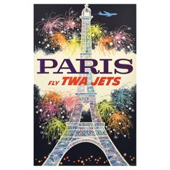 TWA Original 1960s Airline Travel Poster Paris, David Klein