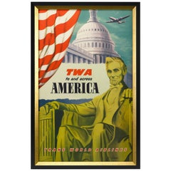 """TWA to and across America"" Washington DC Vintage Travel Poster by Frank Lacano"