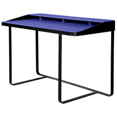 Twain Blue Leather Desk, Designed by Gordon Guillaumier, Made in Italy