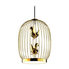 Twee T. Gold Large Suspension Lamp by Jake Phipps