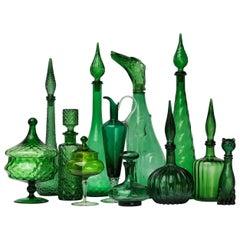 Twelve 1960s Italian Empoli Green Glass Bottles Decanters Bon Bon or Candy Jars