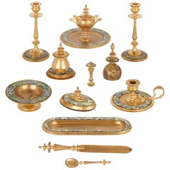 Twelve 19th Century Painted and Gilt Metal Desk Accessories