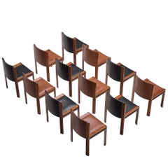 Twelve '300' Dining Chairs in Black and Brown Leather by Joe Colombo