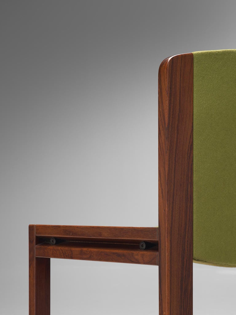 Twelve '300' Dining Chairs in White and Moss Green Upholstery by Joe Colombo For Sale 3