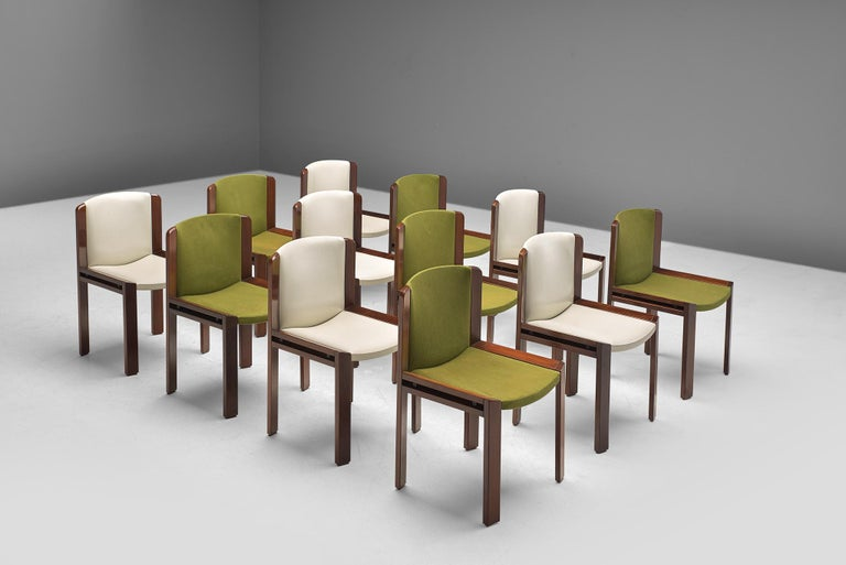 Joe Colombo for Pozzi, 12 dining chairs model '300', green fabric and white leather and rosewood, Italy, 1966.   Functionalist set of dining chairs is designed by Joe Colombo in 1966. His fascination with functionality meant he always focused on