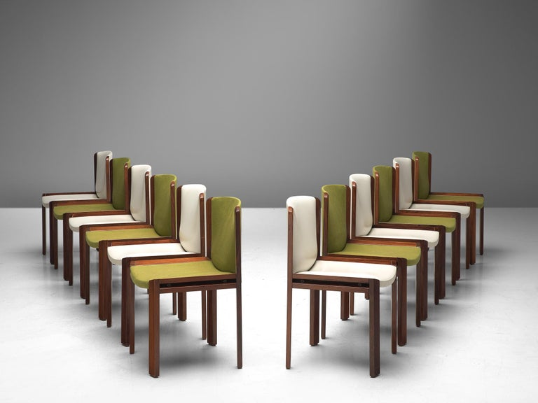 Mid-Century Modern Twelve '300' Dining Chairs in White and Moss Green Upholstery by Joe Colombo For Sale