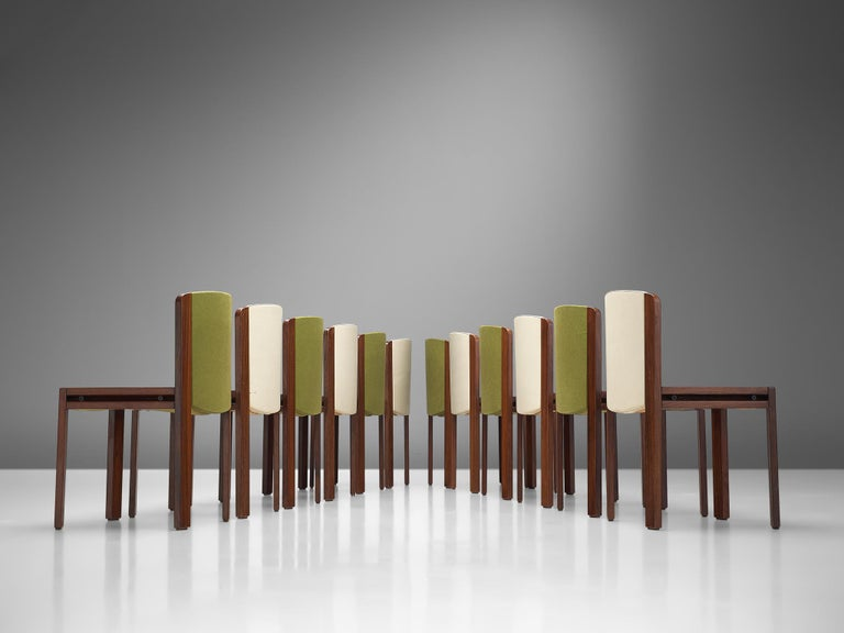 Italian Twelve '300' Dining Chairs in White and Moss Green Upholstery by Joe Colombo For Sale