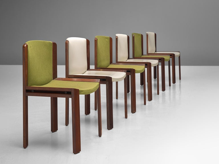 Mid-20th Century Twelve '300' Dining Chairs in White and Moss Green Upholstery by Joe Colombo For Sale