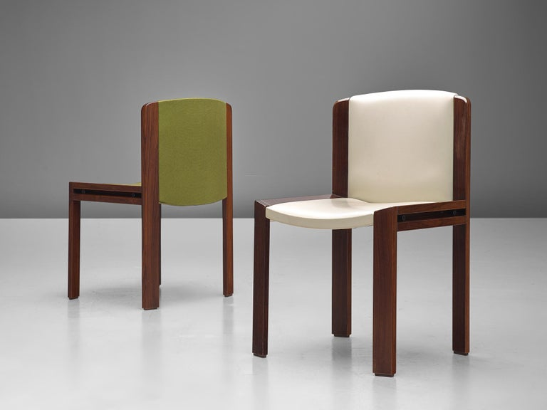 Fabric Twelve '300' Dining Chairs in White and Moss Green Upholstery by Joe Colombo For Sale