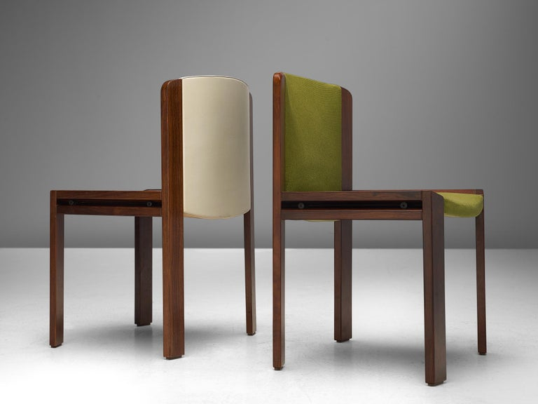Twelve '300' Dining Chairs in White and Moss Green Upholstery by Joe Colombo For Sale 1