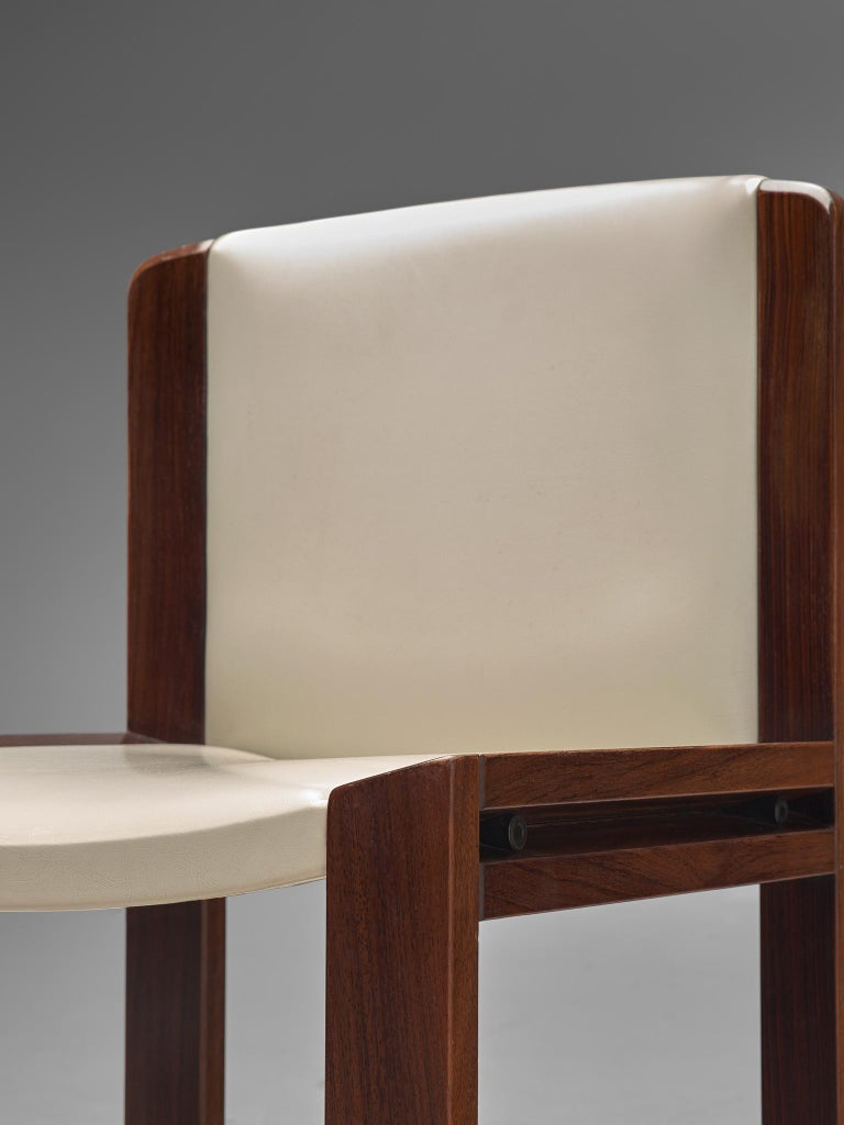 Twelve '300' Dining Chairs in White and Moss Green Upholstery by Joe Colombo For Sale 2
