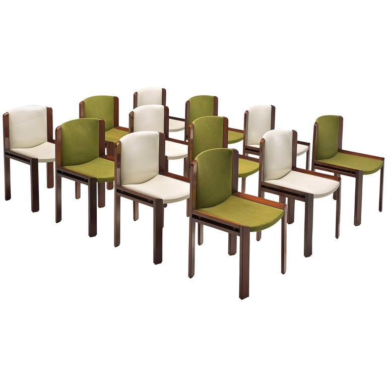 Twelve '300' Dining Chairs in White and Moss Green Upholstery by Joe Colombo For Sale