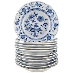 """Twelve Antique Meissen """"Blue Onion"""" Deep Plates in Hand Painted Porcelain"""