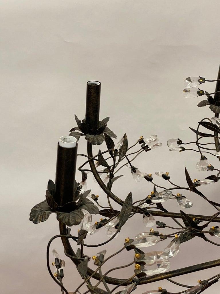 Organic Modern Twelve Arm Tole Foliate & Crystal Chandelier For Sale