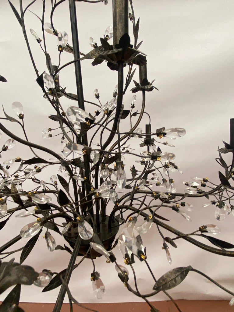 Hand-Crafted Twelve Arm Tole Foliate & Crystal Chandelier For Sale