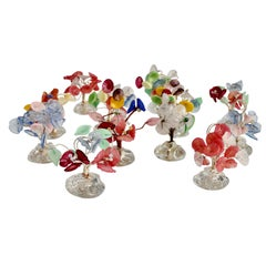 Twelve Bouquet of Colorful Glass Flowers Place Card Holders in Glass Base
