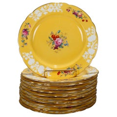 Twelve Copeland for Tiffany Floral Porcelain Luncheon Plates, 20th Century