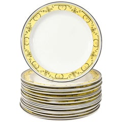 Twelve Creamware Dinner Plates with Yellow Neoclassical Borders Made circa 1800