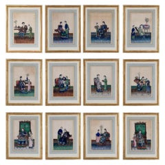Twelve Early 19th Century Chinese Export Rice Paper Court Scenes