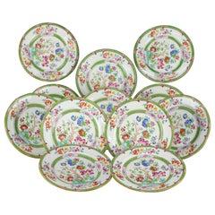 Twelve English Hand Painted Floral Salad Fine China Plates by Cauldon circa 1940