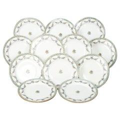 Twelve English Mintons Fine China Floral Garland Porcelain Dinner Plates