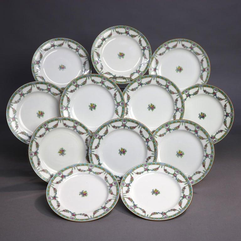 Hand-Painted Twelve English Mintons Fine China Floral Garland Porcelain Salad Plates For Sale