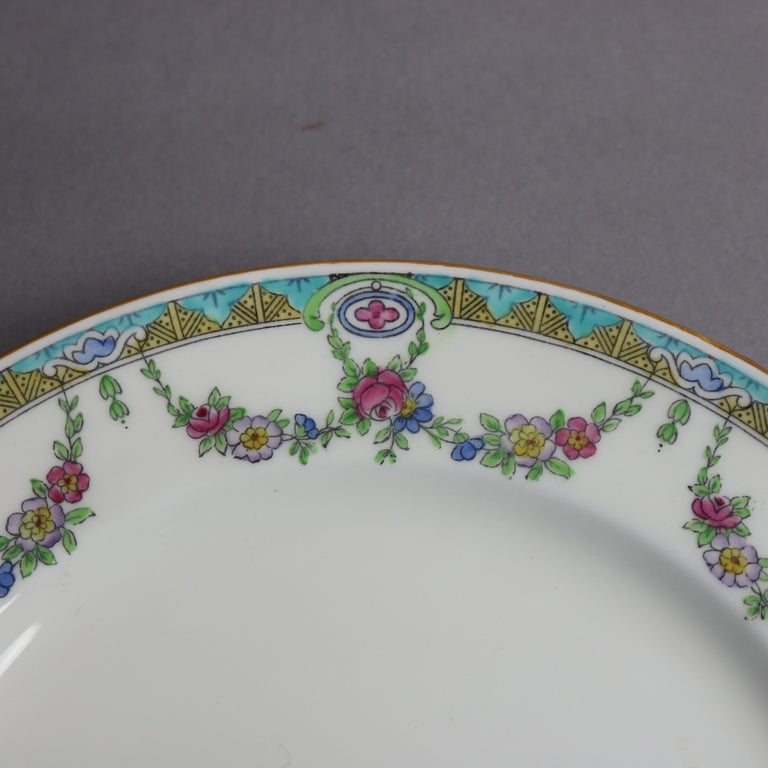 Twelve English Mintons Fine China Floral Garland Porcelain Salad Plates In Good Condition For Sale In Big Flats, NY