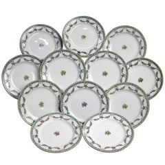 Twelve English Mintons Fine China Floral Garland Porcelain Salad Plates