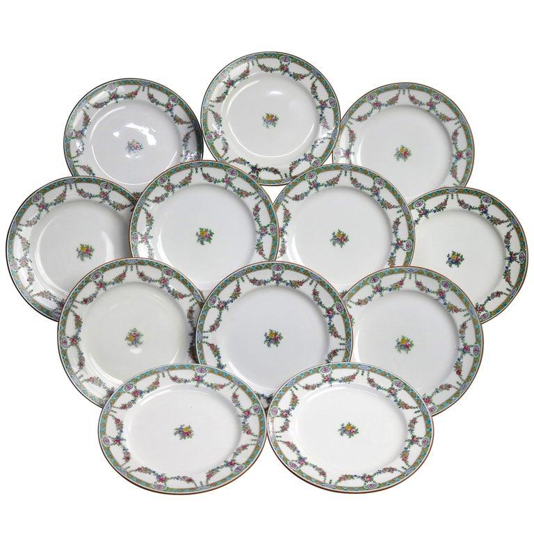 Twelve English Mintons Fine China Floral Garland Porcelain Salad Plates For Sale