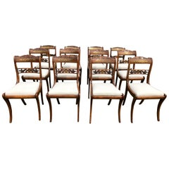 Twelve English Regency Period Brass Inlaid Dining Chairs