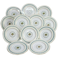 Twelve English Wedgwood Appledore Fine China Dinner Plates Pattern W3257