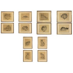Twelve Etchings of Cats by Tsuguharu Foujita