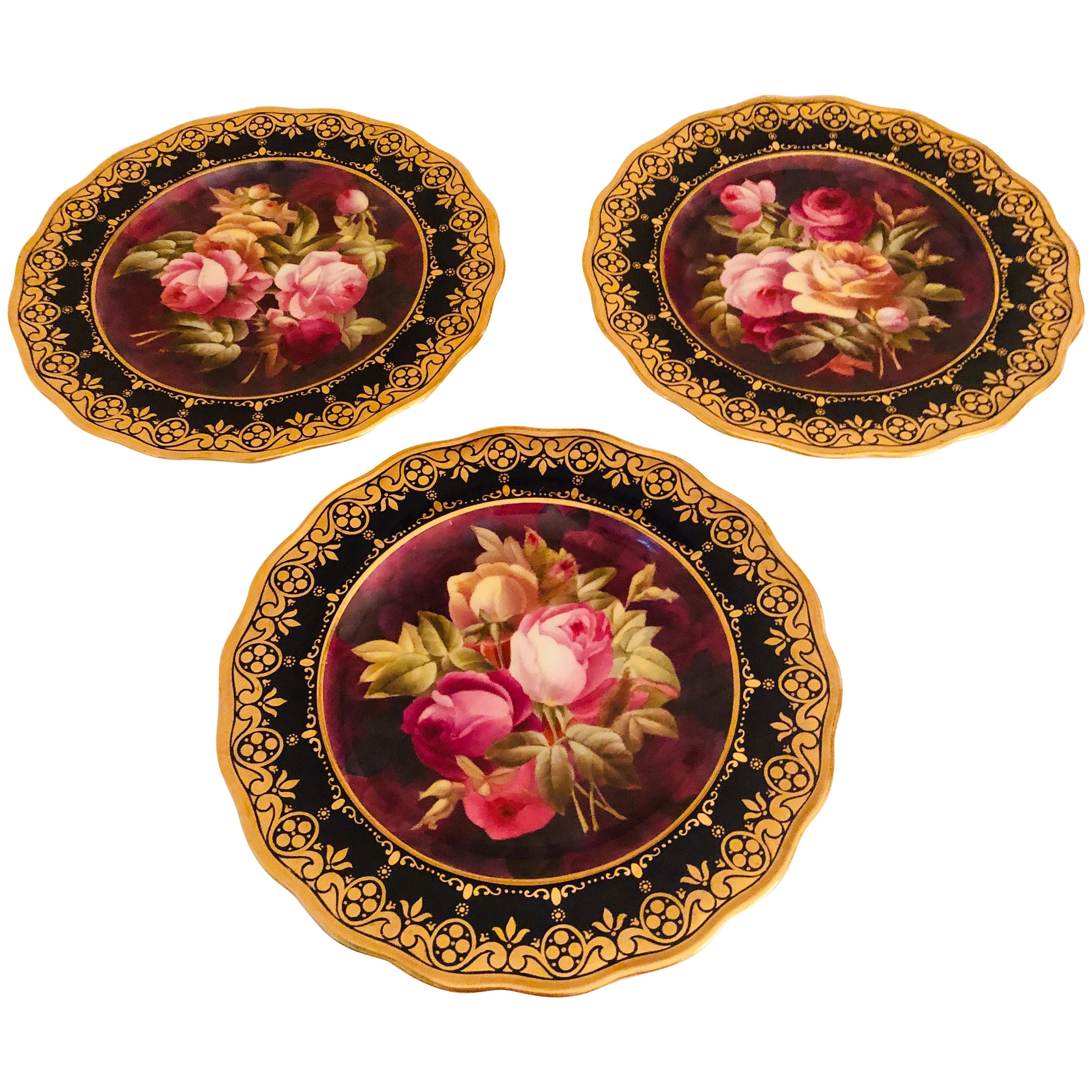 Twelve Exceptional Cobalt Cauldon Plates Each Painted with Different Roses