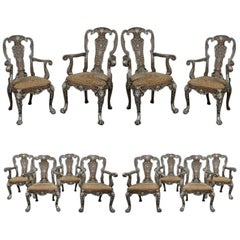 Twelve George I Style Silvered Dining Chairs by Lenygon & Morant, c 1920