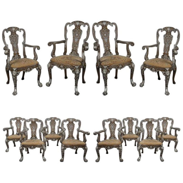 Twelve George I Style Silvered Dining Chairs by Lenygon & Morant, c 1920 For Sale