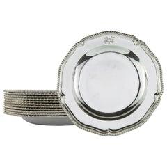 Twelve Georgian Sterling Silver Soup Plates