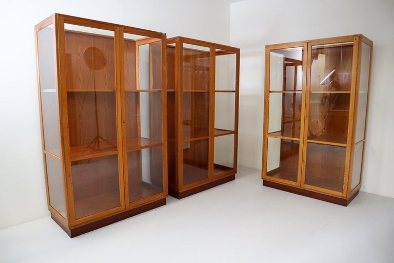 Mid-Century Modern Twelve Glazed Display Cabinets from The National Museum in Praque, 1950s For Sale