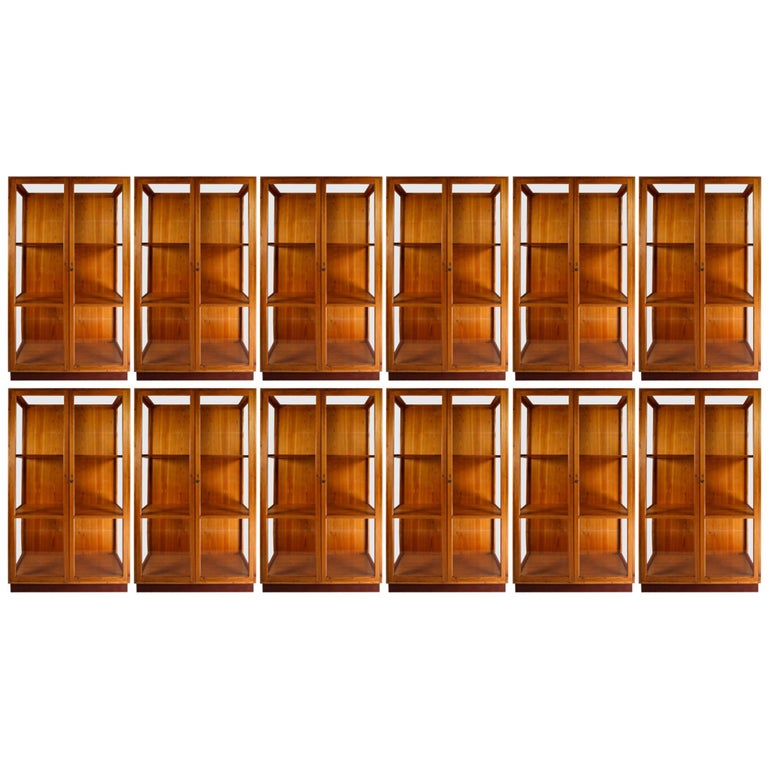 Twelve Glazed Display Cabinets from The National Museum in Praque, 1950s For Sale