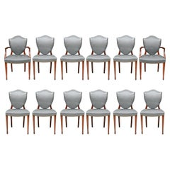 Twelve Gray Leather Shield Back Dining Chairs for Restoration