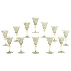 Twelve Handblown Salviati Latticino Goblets with Gold Leaf Inclusions