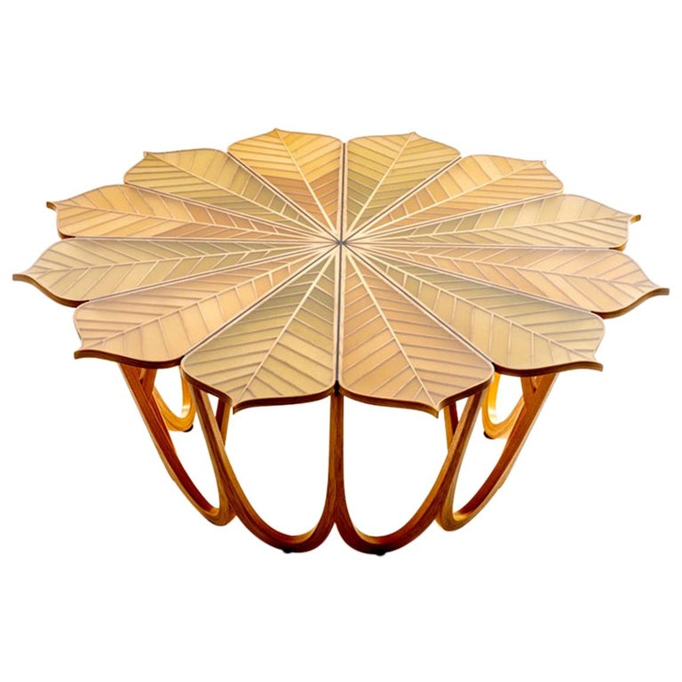 Twelve Leaf Resin Table by Michael Hurwitz For Sale