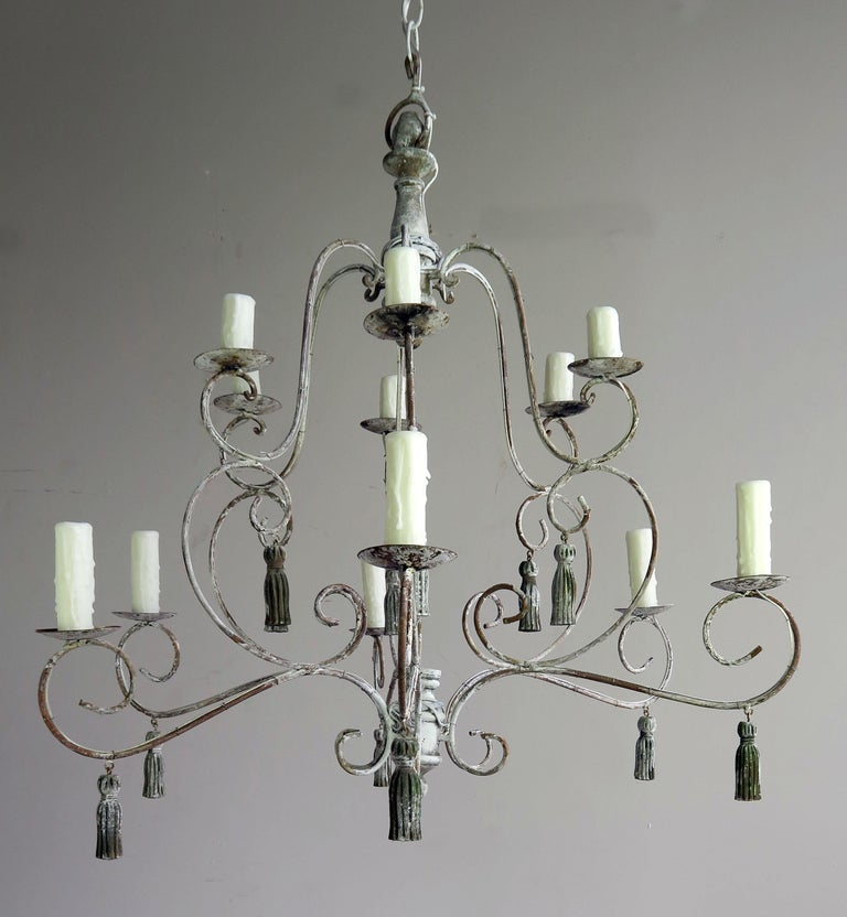 Rococo Twelve-Light French Painted Chandelier with Tassels For Sale