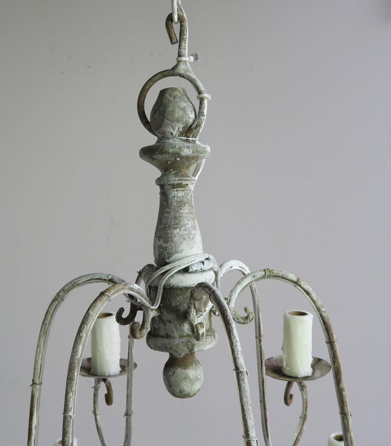 Mid-20th Century Twelve-Light French Painted Chandelier with Tassels For Sale