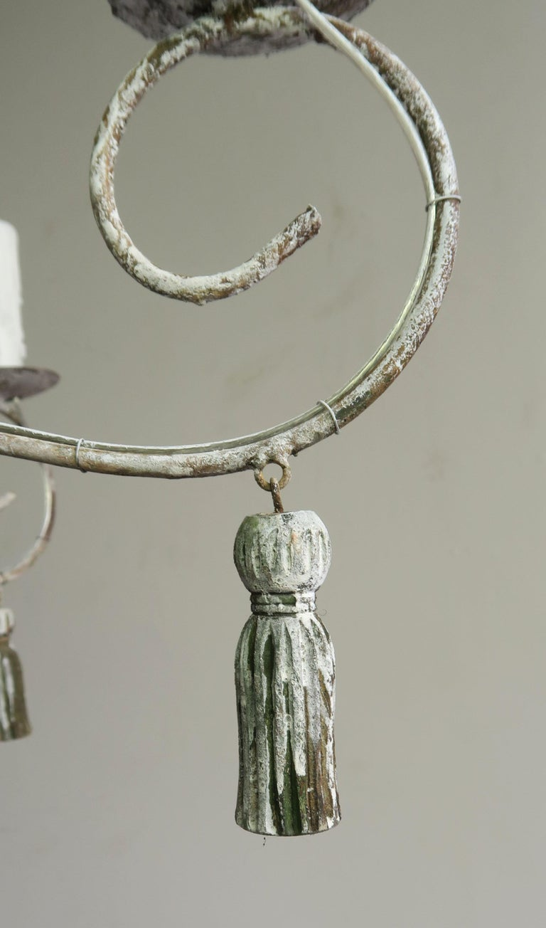 Iron Twelve-Light French Painted Chandelier with Tassels For Sale