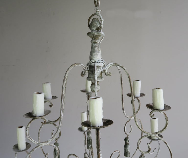 Twelve-Light French Painted Chandelier with Tassels For Sale 1