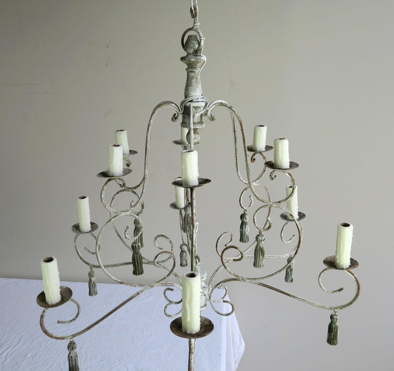 Twelve-Light French Painted Chandelier with Tassels For Sale 2