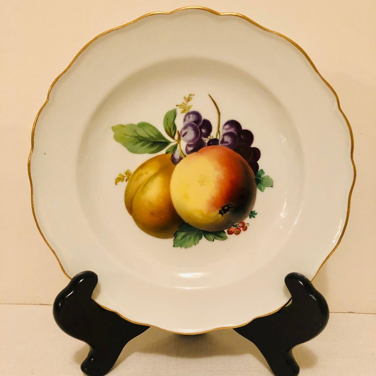 Twelve Meissen Dessert Plates, Each with Museum Quality Paintings of Fruits For Sale 2