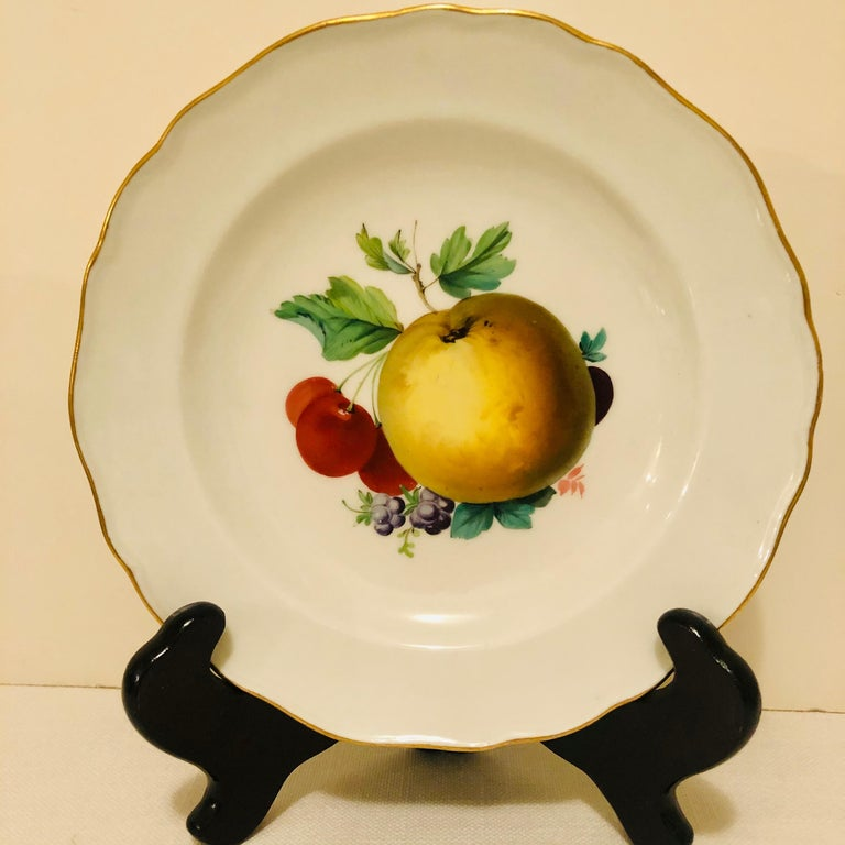 Twelve Meissen Dessert Plates, Each with Museum Quality Paintings of Fruits For Sale 3
