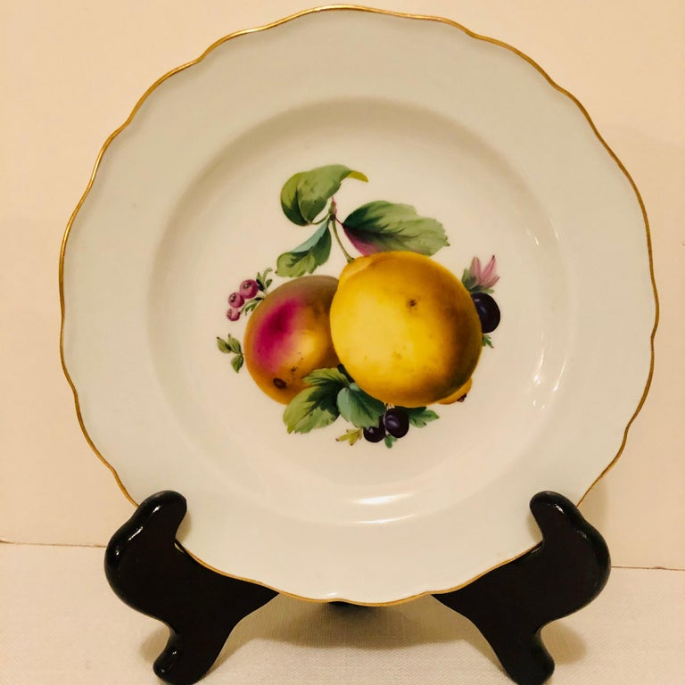 Twelve Meissen Dessert Plates, Each with Museum Quality Paintings of Fruits For Sale 5